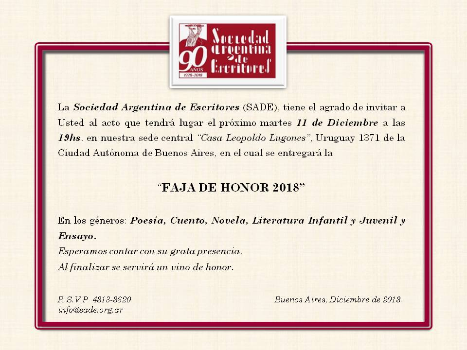 Invitación FAJA DE HONOR 2018
